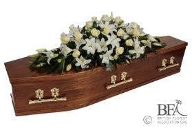 White Rose and Lily Casket Spray